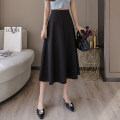 skirt Summer 2020 S M L XL 2XL Black apricot bean green Mid length dress commute High waist A-line skirt Solid color Type A 25-29 years old More than 95% Qian Yuanqian other Pleated zipper Other 100% Pure e-commerce (online only)