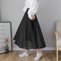skirt Spring 2020 S M L XL Blue gray orange pink blue apricot coffee black Mid length dress Versatile High waist A-line skirt Solid color Type A 25-29 years old More than 95% Qian Yuanqian other Mesh splicing Other 100% Pure e-commerce (online only)