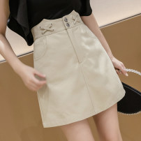 skirt Summer 2020 S M L XL White black Khaki Short skirt commute High waist A-line skirt Solid color Type A 25-29 years old More than 95% other Qian Yuanqian cotton Button zipper Korean version Cotton 96% other 4% Pure e-commerce (online only)