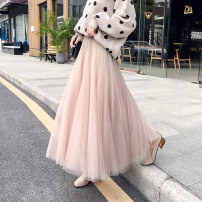 skirt Spring of 2019 Average size Apricot grey black pink Khaki Mid length dress commute High waist Splicing style Solid color Type A 18-24 years old More than 95% Qian Yuanqian other Korean version Other 100% Pure e-commerce (online only)