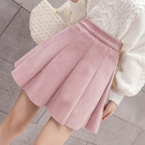 skirt Autumn of 2019 S M L XL 2XL Black army green pink Khaki grey Short skirt commute High waist Pleated skirt Solid color 18-24 years old 3522ming28 More than 95% Qian Yuanqian other zipper Other 100% Pure e-commerce (online only)