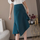 skirt Summer 2020 S M L XL Black blue brown Mid length dress commute High waist Irregular Solid color Type A 25-29 years old More than 95% Qian Yuanqian other Asymmetrical zipper with ruffle Other 100% Pure e-commerce (online only)