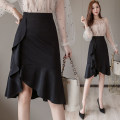 skirt Autumn of 2019 S M L XL 2XL black Mid length dress Versatile High waist Pleated skirt Type A 25-29 years old More than 95% Qian Yuanqian other Other 100% Pure e-commerce (online only)