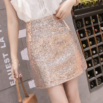 skirt Spring 2020 S M L XL White black gold Short skirt commute High waist A-line skirt Solid color Type A 25-29 years old More than 95% Qian Yuanqian other Sequins Other 100% Pure e-commerce (online only)