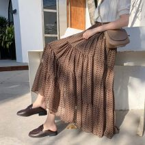 skirt Spring 2020 Average size W Blue w BROWN Mid length dress commute High waist Splicing style Dot Type A 25-29 years old More than 95% Qian Yuanqian other printing Other 100% Pure e-commerce (online only)