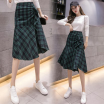 skirt Spring 2020 S M L XL Green Grid longuette commute High waist Irregular lattice Type A 25-29 years old More than 95% Qian Yuanqian other Asymmetrical zipper with ruffle Korean version Other 100% Pure e-commerce (online only)
