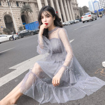 Dress Autumn 2020 Grey Pink apricot S M L XL Mid length dress singleton  Long sleeves commute Crew neck Elastic waist other Socket Ruffle Skirt pagoda sleeve Others 25-29 years old Type A Qian Yuanqian Korean version Frenulum More than 95% other other Other 100% Pure e-commerce (online only)