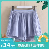 skirt Summer 2020 XS,S,M,L,XL Grey blue, earth brick commute Natural waist 25-29 years old Z19BK599 More than 95% other Other / other polyester fiber Korean version