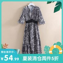 Dress Summer 2020 Black pattern XS,S,M,L,XL,2XL longuette singleton  three quarter sleeve commute V-neck middle-waisted Decor Socket other routine Others 25-29 years old Other / other Korean version DX85842 More than 95% polyester fiber