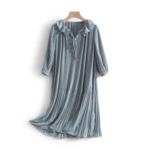 Dress Spring 2021 Turquoise (no interior), turquoise S,M,L,XL Mid length dress singleton  Long sleeves commute V-neck middle-waisted Solid color Socket Ruffle Skirt routine Others 25-29 years old Type H Other / other Korean version More than 95% polyester fiber