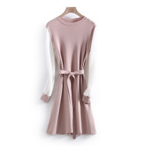 Dress Spring 2021 Purple Pink S,M,L,XL Middle-skirt singleton  Long sleeves commute Crew neck middle-waisted Solid color Socket routine Others 25-29 years old Type H Other / other Korean version More than 95% polyester fiber