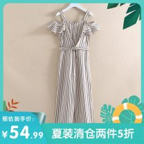 Jumpsuit / pants 96% and above trousers other middle-waisted commute Apricot black stripe XS,S,M,L,XL routine Summer 2020 Wide leg pants 2E256152Q