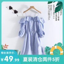 Dress Summer 2020 Blue and white stripes XS,S,M,L,XL singleton  three quarter sleeve commute Elastic waist Solid color Socket routine Others 25-29 years old Other / other Korean version Z19BH414 51% (inclusive) - 70% (inclusive) other