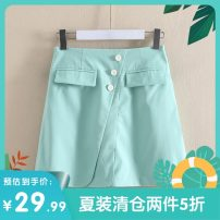 skirt Summer 2020 S,M,L,XL,2XL Blue, mint Middle-skirt commute Natural waist Solid color 25-29 years old C305B1118 More than 95% Other / other other Korean version