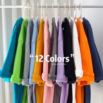 T-shirt Sapphire blue dark coffee milk blue pink white black orange purple gray yellow Navy green S M L XL 2XL 3XL Spring 2021 Short sleeve Crew neck easy Regular routine street cotton 96% and above 18-24 years old youth Solid color Interesting LQ21-012706 Cotton 100% Pure e-commerce (online only)