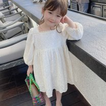 Dress white female Other / other 90cm,100cm,110cm,120cm,130cm,140cm Other 100% spring and autumn princess Long sleeves Solid color other A-line skirt Class B 18 months, 2 years old, 3 years old, 4 years old, 5 years old, 6 years old, 7 years old, 8 years old Chinese Mainland