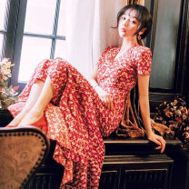 Dress Summer of 2019 gules S,M,L,XL Short skirt singleton  Short sleeve commute V-neck High waist Decor other Irregular skirt routine Type H Korean version Bandage, print Chiffon