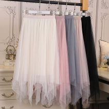 skirt Spring 2021 Average size Mid length dress commute High waist A-line skirt Solid color Type A 18-24 years old 9806# 51% (inclusive) - 70% (inclusive) other Other / other other Asymmetry Korean version