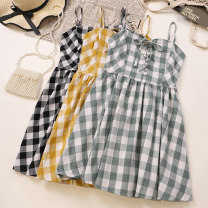 Dress Summer 2021 Green, yellow, black Average size Short skirt singleton  Sleeveless commute other High waist lattice Socket A-line skirt other camisole 18-24 years old Type A Other / other Korean version 1697# 51% (inclusive) - 70% (inclusive) other other