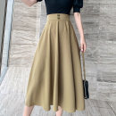 skirt Summer 2021 S,M,L,XL Black, Khaki longuette Versatile High waist Pleated skirt Solid color Type A 51% (inclusive) - 70% (inclusive) brocade cotton Fold, pocket, zipper