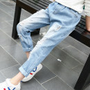 trousers Other / other female 110cm,120cm,130cm,140cm,150cm,160cm Picture color No season trousers Korean version There are models in the real shooting Jeans Leather belt middle-waisted Denim Don't open the crotch Cotton 90% other 10% Class B LL24 Chinese Mainland