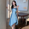 Dress Summer 2021 Picture color S,M,L,XL Mid length dress singleton  Sleeveless commute One word collar High waist Solid color Single breasted Irregular skirt routine Others 25-29 years old Type A Korean version Button, pocket, lace, ruffle 31% (inclusive) - 50% (inclusive) Denim cotton