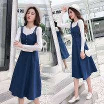 Dress Autumn 2020 blue S,M,L,XL Mid length dress singleton  Sleeveless commute High waist Solid color Socket Big swing routine camisole 18-24 years old Type A Korean version 51% (inclusive) - 70% (inclusive) Denim cotton