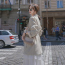 suit Autumn of 2019 Apricot Beige coat (with belt) S M L Long sleeves routine Self cultivation tailored collar Single breasted commute routine lattice MZ1809 18-24 years old 96% and above other Mo Zhi Pocket button Other 100% Pure e-commerce (online only)
