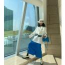 skirt Spring 2021 S, M blue , grey , black , yellow Mid length dress commute High waist Solid color Icarisol Korean version