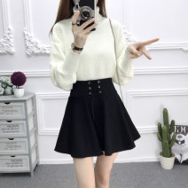 skirt Autumn 2020 S,M,L,XL Short skirt Versatile High waist Pleated skirt Solid color Type A 18-24 years old 30% and below other other Fold, tie, tie