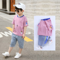 suit Tongchi White pink green 110cm 120cm 130cm 140cm 150cm 160cm 100cm male summer leisure time Short sleeve + pants 2 pieces routine There are models in the real shooting Socket nothing other other children Giving presents at school TC19047 Class B Other 100% Summer 2020