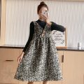 Dress Charming Charm M L XL XXL Korean version Long sleeves Medium length autumn stand collar Dot