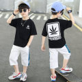 suit Champion Mommy Black and white 90cm 100cm 110cm 120cm 130cm 140cm 150cm 160cm male summer leisure time Short sleeve + pants 2 pieces Thin money There are models in the real shooting Socket nothing Solid color cotton children Expression of love GJMMI---2106 Class B Other 100% Summer 2021