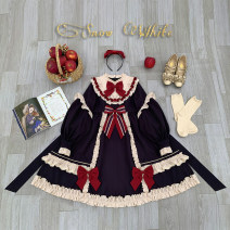 Dress Spring 2020 Cyan color, hairband, skirt + hairband, [if you need packing box, please order note] S,M,L Mid length dress singleton  Long sleeves Sweet Crew neck High waist Solid color zipper Cake skirt Princess sleeve Others Type A 81% (inclusive) - 90% (inclusive) Lolita