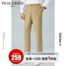 Casual pants Peacebird Fashion City S M L XL XXL XXXL XXXXL routine trousers Other leisure Straight cylinder No bullet autumn youth Business Casual 2020 middle-waisted Straight cylinder Polyester 67.9% viscose 32.1% Solid color polyester fiber Autumn 2020 Pure e-commerce (online only)