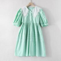 Dress Spring 2021 Fruit green, grey blue, lake blue M Middle-skirt singleton  Short sleeve Doll Collar Loose waist Solid color Single breasted LT05939/M/0.31 More than 95% silk