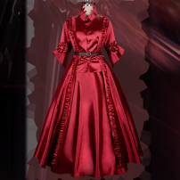 Cosplay women's wear Other women's wear goods in stock Over 14 years old Red lady's full set of dress, skirt and bow [Hai, shoes (size 35-40), red lady's wig, hair net, hair wax] Animation, original 50. M, s, XL, XXL, one size fits all