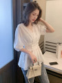 shirt White [send and wrap chest] black [send and wrap chest] S M L XL Summer 2021 other 96% and above Short sleeve commute Regular V-neck Socket puff sleeve Solid color 18-24 years old Self cultivation Beiyiwei Korean version H1013 Other 100% Pure e-commerce (online only)