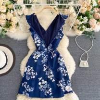 Dress See description White, pink, blue One size fits all V-neck Decor