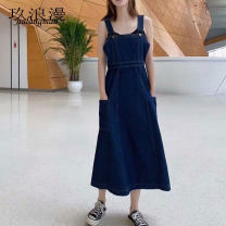 Dress Autumn 2020 navy blue S M L Mid length dress singleton  Sleeveless commute square neck High waist Solid color Socket A-line skirt routine camisole 25-29 years old Type X Nine romance Korean version Pocket for old strap More than 95% Denim other Other 100% Pure e-commerce (online only)
