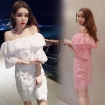 Dress Summer 2017 White, pink, black, white, pink, black Average size Miniskirt singleton  commute One word collar High waist Solid color zipper A-line skirt Pile sleeve camisole Type H Other / other Korean version four point two seven