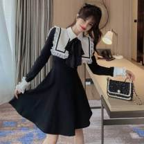 Dress Winter 2020 Picture color S,M,L Mid length dress singleton  Long sleeves Sweet Admiral Others 18-24 years old Type A Other / other Stitching, lace