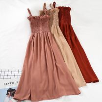 Dress Spring of 2019 Red, black, leather powder, rust red, khaki, caramel, pink, sling Average size Mid length dress singleton  Sleeveless commute One word collar High waist Solid color Socket A-line skirt other camisole 18-24 years old Type A Other Korean version 51% (inclusive) - 70% (inclusive)