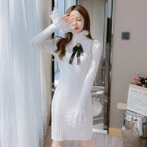 Dress Winter 2020 White, traceless underwear S,M,L Mid length dress singleton  Long sleeves Sweet High collar High waist Solid color Socket One pace skirt Lotus leaf sleeve 18-24 years old Type A bow 81% (inclusive) - 90% (inclusive) knitting college