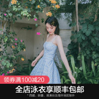 one piece  OMOM M L XL Broken blue flower Skirt one piece With chest pad without steel support KB29181 Summer of 2019 female Sleeveless Casual swimsuit