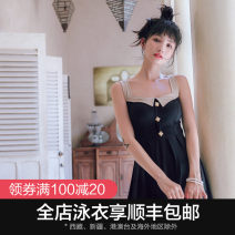 one piece  OMOM M L XL Black split black conjoined Skirt one piece With chest pad without steel support KB29025 Winter of 2018 female Sleeveless Casual swimsuit