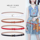 Belt / belt / chain Double skin leather Brown White Red Black female belt Simplicity Single loop Young and middle aged Pin buckle Glossy surface Glossy surface 1.4cm alloy alone Iriko Summer 2020