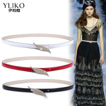 Belt / belt / chain Double skin leather White, red, black female belt Versatile Single loop Young and middle aged Smooth button Diamond inlay Glossy surface 1.4cm alloy alone Iriko Spring 2020