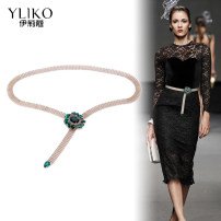 Belt / belt / chain other Green diamond + gold chain white diamond + silver chain green diamond + silver chain white diamond + gold chain female Waist chain grace Single loop Middle aged youth a hook Diamond inlay Glossy surface 1.5cm alloy Bare body inlaid diamond Iriko 000YL067 90cm 100cm 110cm no