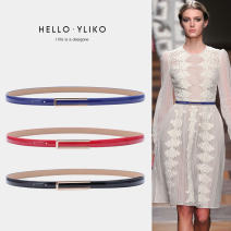 Belt / belt / chain Double skin leather female belt Simplicity Single loop Middle aged youth Automatic buckle Glossy surface Patent leather 1.2cm alloy Naked candy jelly texture Iriko 000381-1 Summer of 2019 no